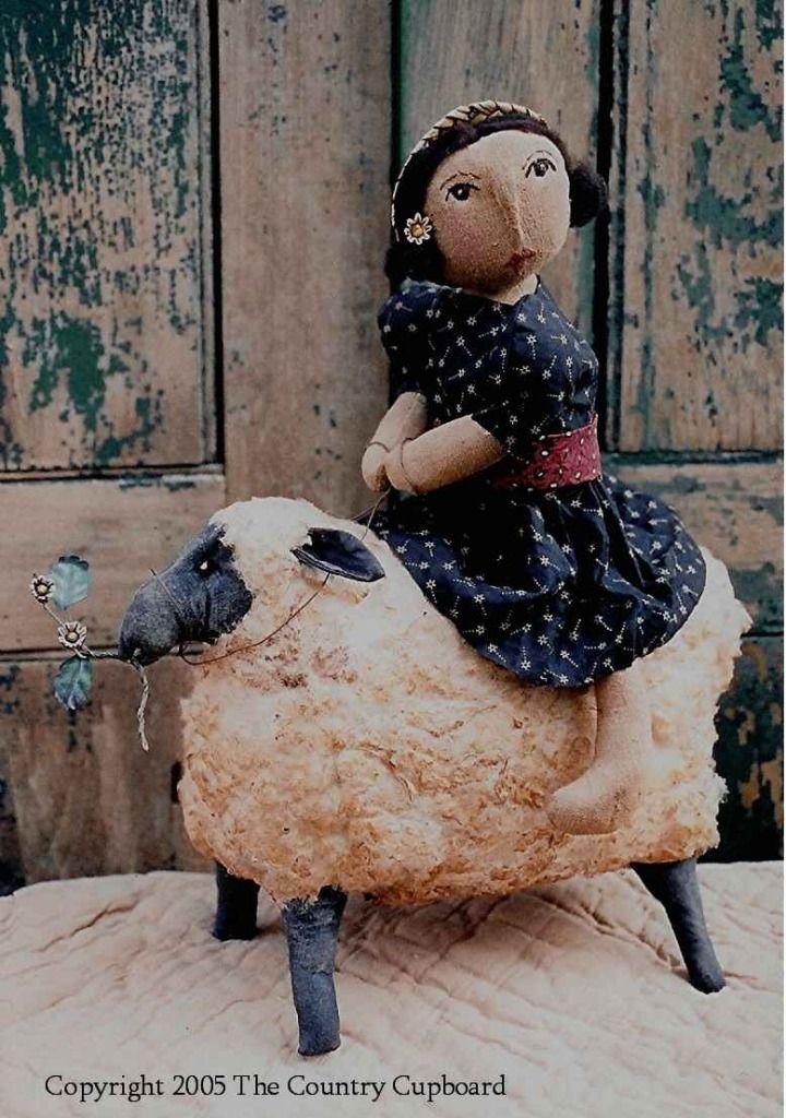 Primitive Folk Art Doll Riding Sheep CRAFT SEWING PATTERN The ...