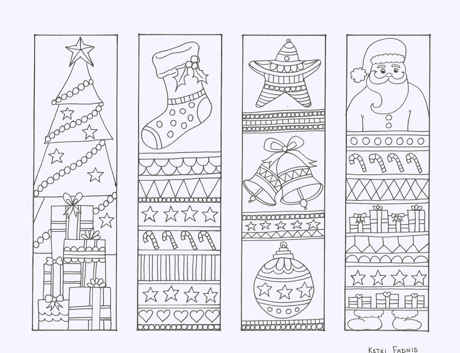 Here S A Set Of Four Christmas Bookmarks Hand Drawn By Me For You To Color Coloring Is Greatly R Coloring Bookmarks Christmas Colors Christmas Bookmarks
