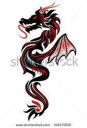 Photo of Black and red tribal dragon tattoo vector illustration – buy this image …