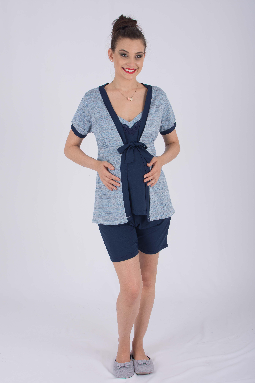 137c97cbd O Pijama gestante curto três peças blusa com alças para amamentação é uma  peça coringa para