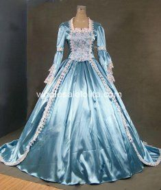 18th Century Theme Dress Blue and White Lace Marie Antoinette Period Wedding Dress Performance Clothing