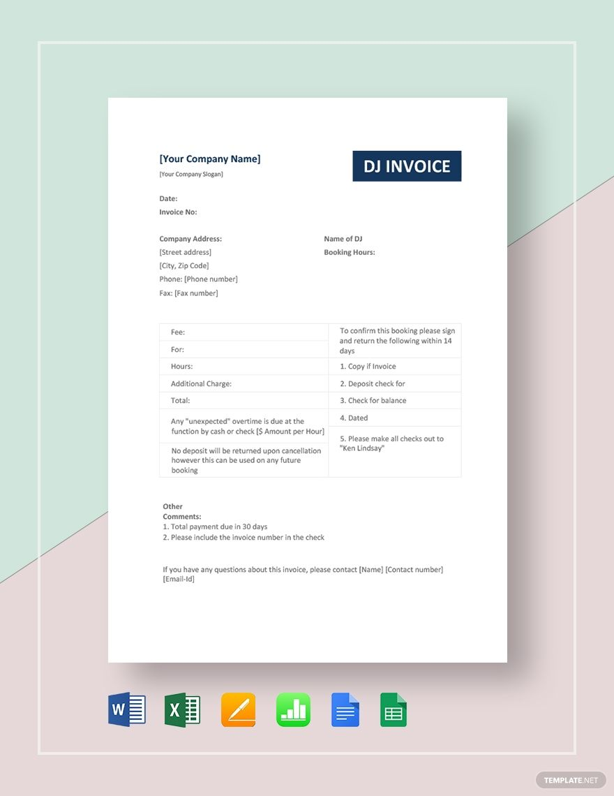 Dj Invoice Template Free Pdf Word Excel Apple Pages Google Docs Google Sheets Apple Numbers Invoice Template Templates Contract Template