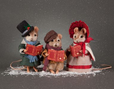 """RJW - Deck the Hall  A set of 3 caroling mice: Height 3"""", mohair, jointed at neck and shoulders, glass eyes, open mouths, resin hands and feet, detailed Victorian costumes and custom-made songbooks. Date of Release: 2013 Limited Edition 150."""
