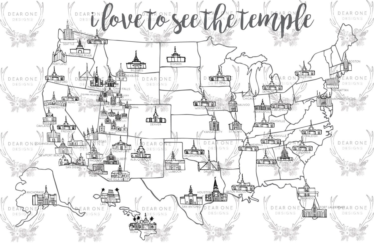 LDS Temple Map by thedearonedesigns on Etsy httpswwwetsycom