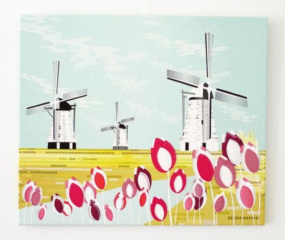 Holländische Windmühlen  große TextilLeinwand von lauraamiss, €110.00