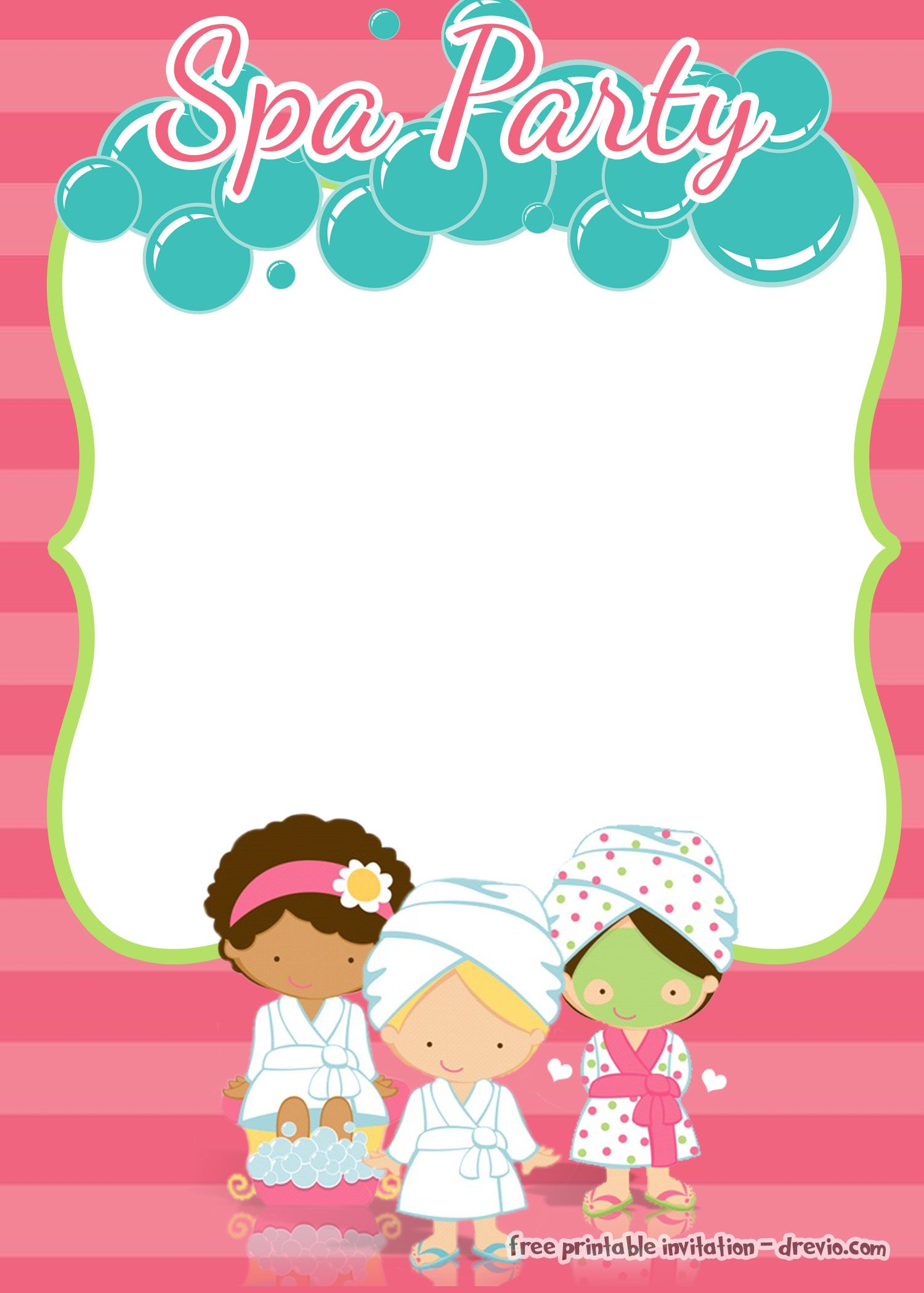 Get Spa Party Birthday Invitation Template - FREE Printable | FREE ...
