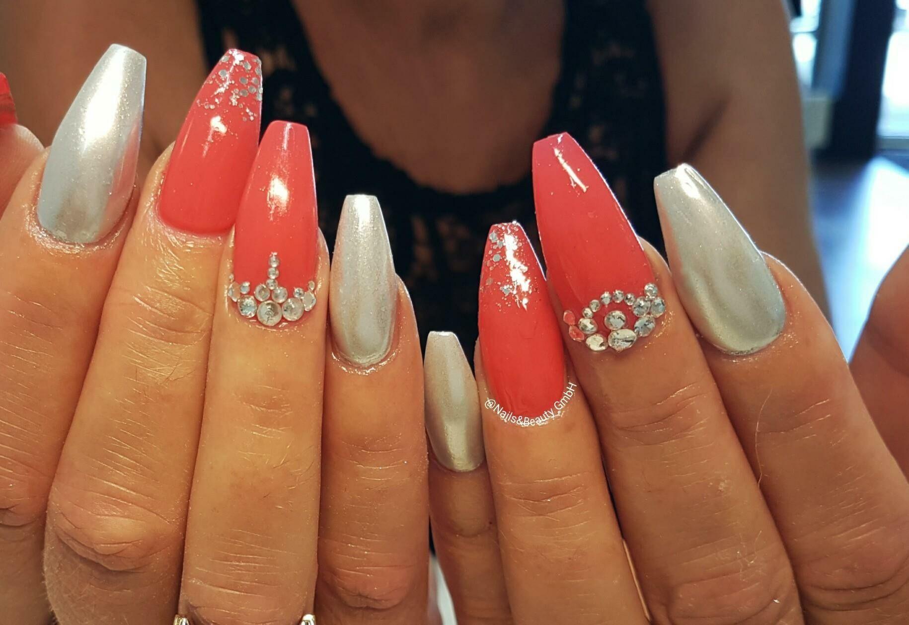 Chrome nails coral swarovski nails ideas pinterest chrome nails