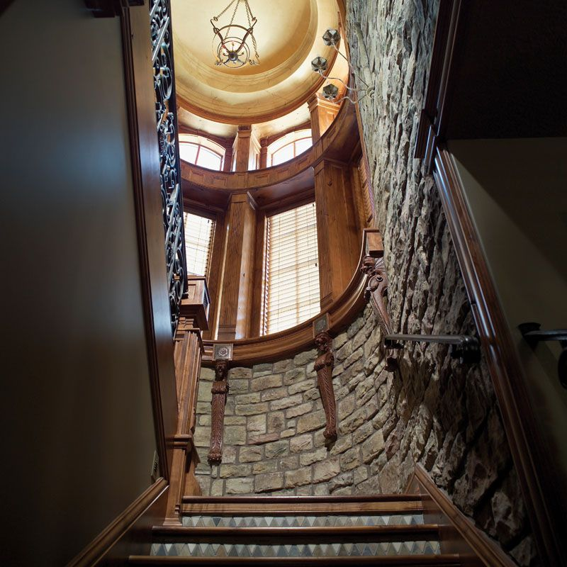 Best Inside The Stone Turret Stairway Plan 051S 0007 400 x 300