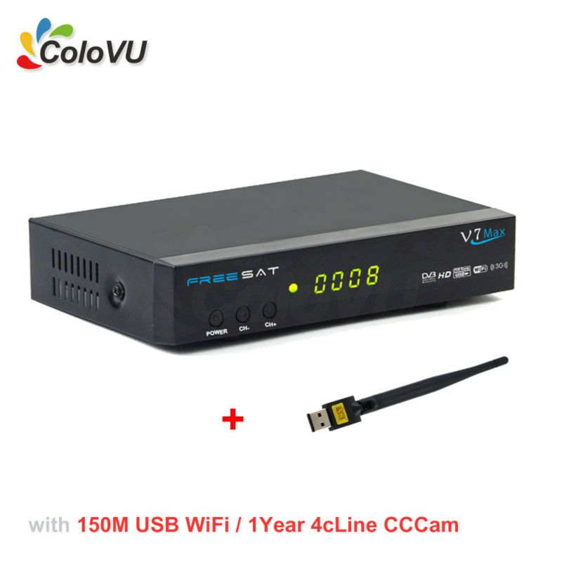 Satellite Receiver Freesat V7 Max DVB-SS2  USB WiFi  1Year 4cLine Europe CCCam Account support Biss cccam newcamd Powervu