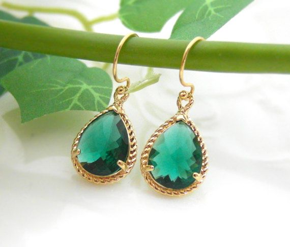 hook mahny products earrings jewelry long stone green grande