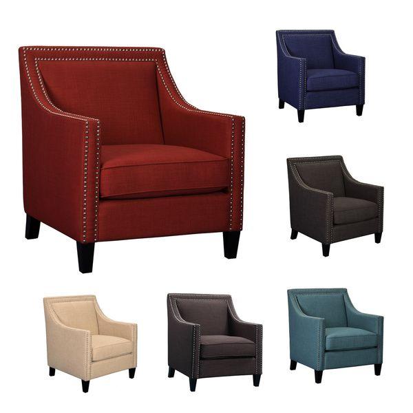 Best Living Room Furniture Deals: Emley Modern Nail Head Trimmed Chair