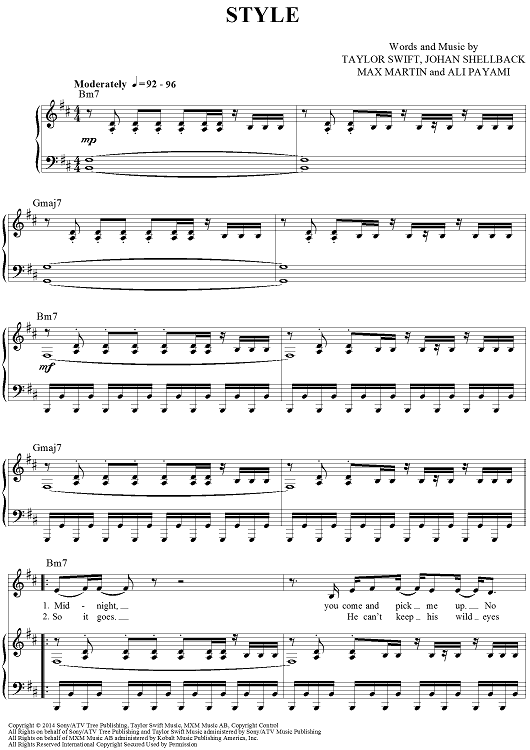 Style Sheet Music By Taylor Swift Paper Sheet Music And Swift