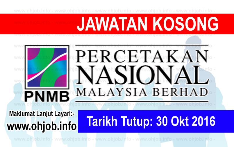 Jawatan Kosong Percetakan Nasional Malaysia Berhad Pnmb 30