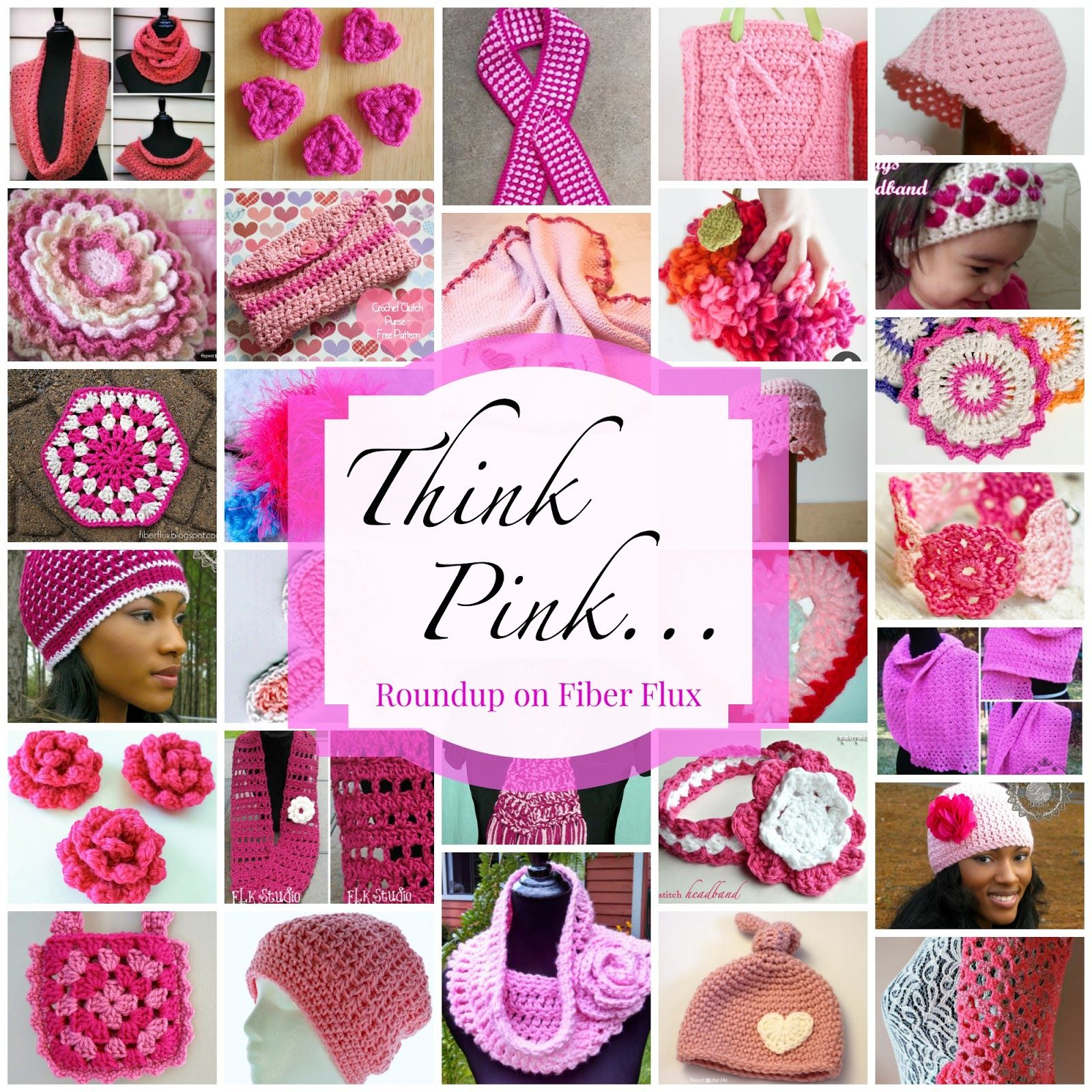 Think Pink...40 free crochet patterns to go pink in October! (Fiber ...