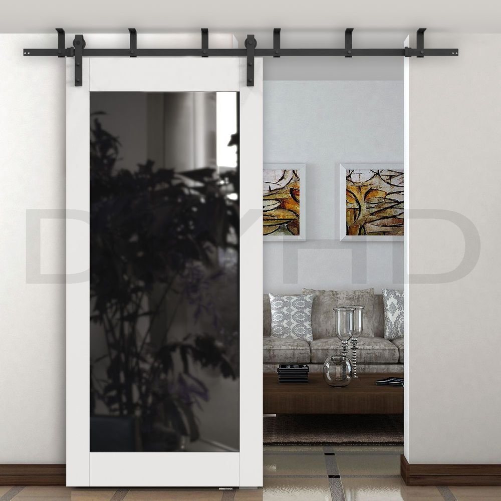 6 6 6 8ft Ceiling Mount Sliding Barn Door Hardware Rustic Black Ceiling Bracket Ebay Sliding Doors Interior Wood Doors Interior Barn Doors Sliding