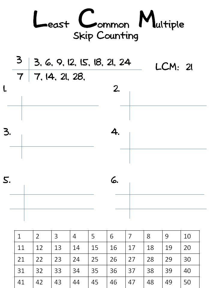 LCM - Least Common Multiple | Classroom freebies, Math and School