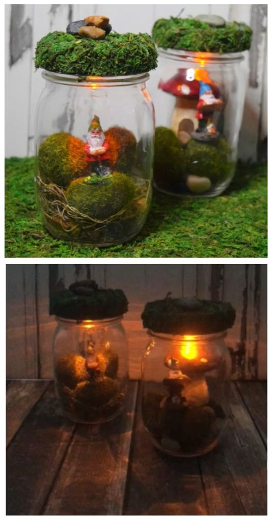 DIY Light Up Gnome Mason Jars