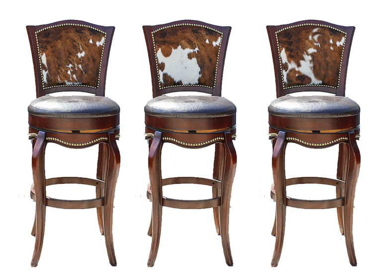 Three Leather And Cowhide Upholstered Barstools Bar Stools