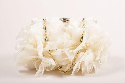 Judith-Leiber-Wedding-2995-Cream-Floral-Ruffle-Chain-Strap-Clutch-Bag