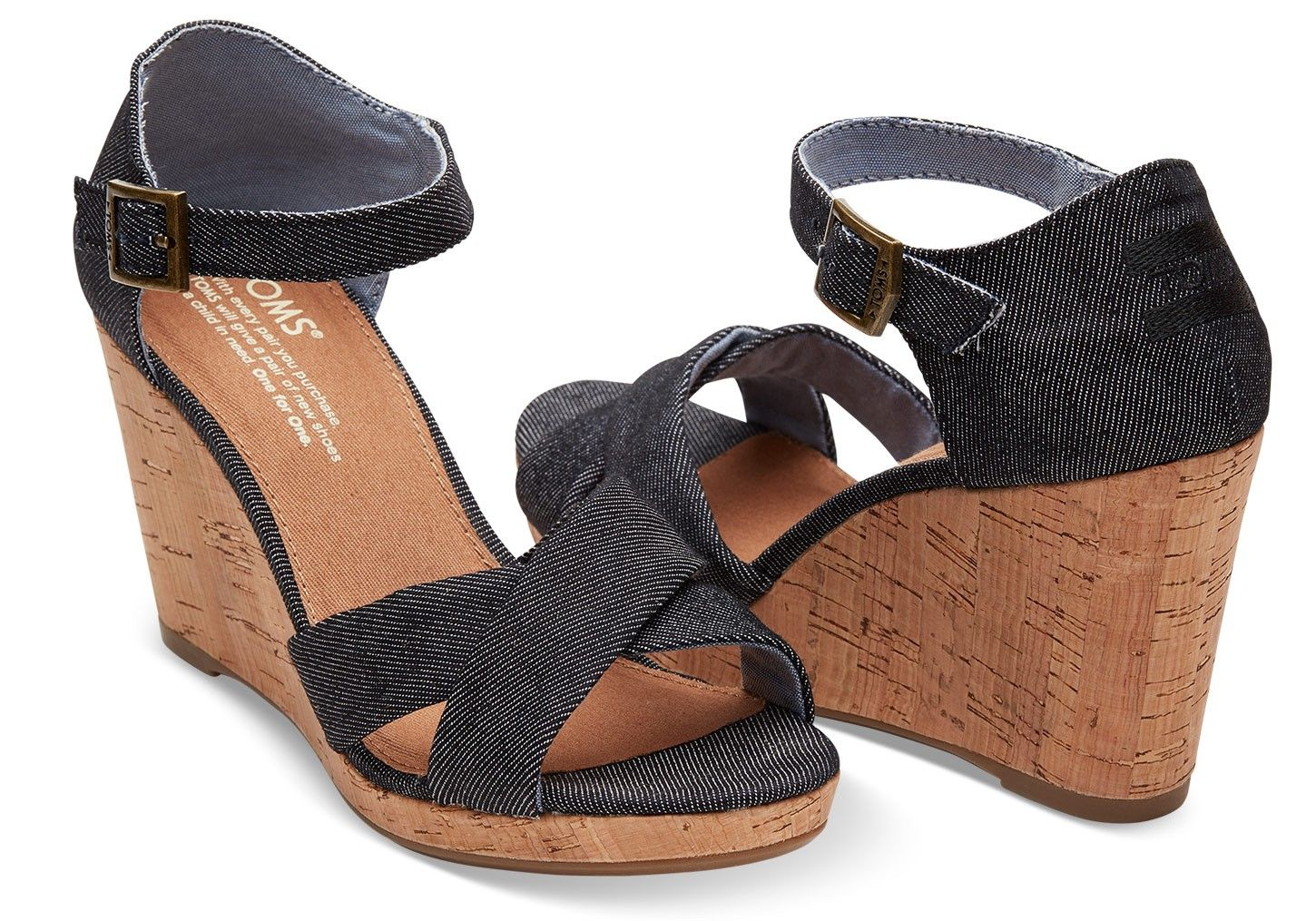 ba8b8333aa7 Toms Black Denim Women s Sienna Wedges - 12
