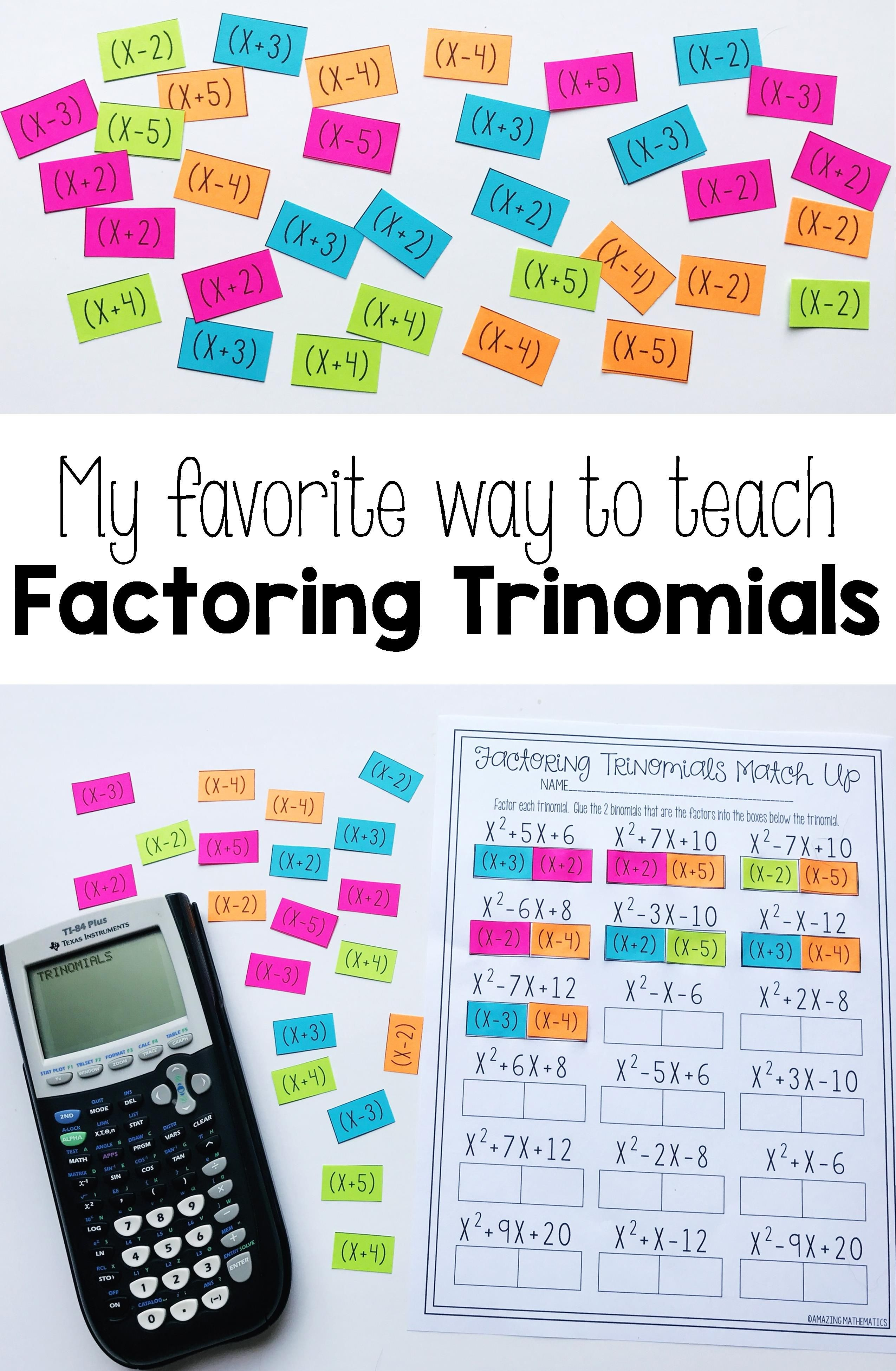 Factoring Polynomials Activity - Beginner   Pinterest   Algebra ...