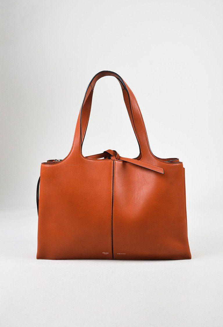 Celine Rust Orange Leather Top Handle Medium