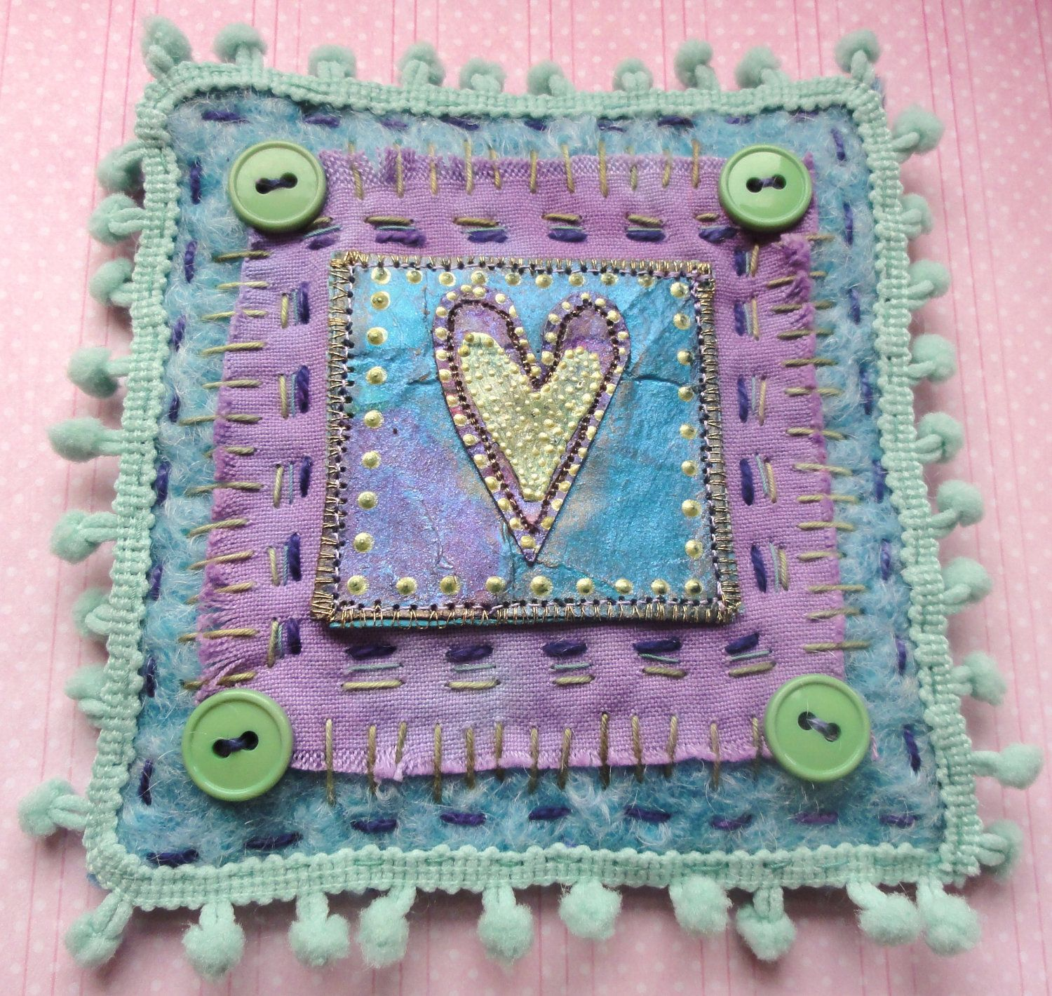 Textile Art Mini Wallhanging by Thecraftmagpie on Etsy, $25.00