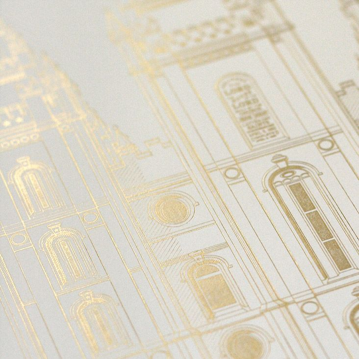 An incredibly modern, beautiful and unique interpretation of the Salt Lake Temple, this 13x19 satin gold foil-stamped print is the perfect accent piece to any home.