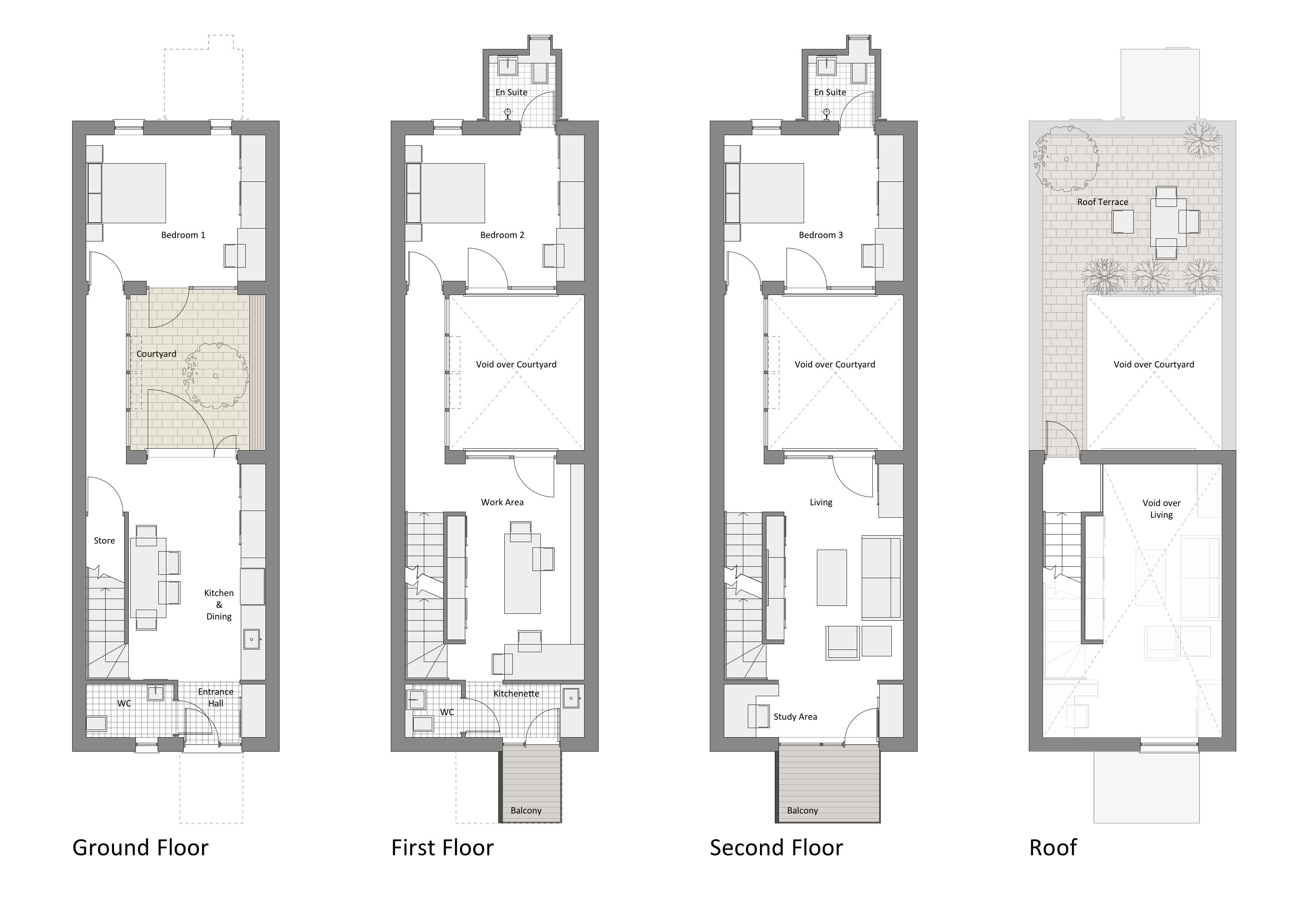 Narrow row house floor plans google search row houses for Narrow house design