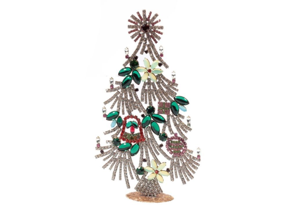 Czech standing glass rhinestone Christmas tree ornament ...