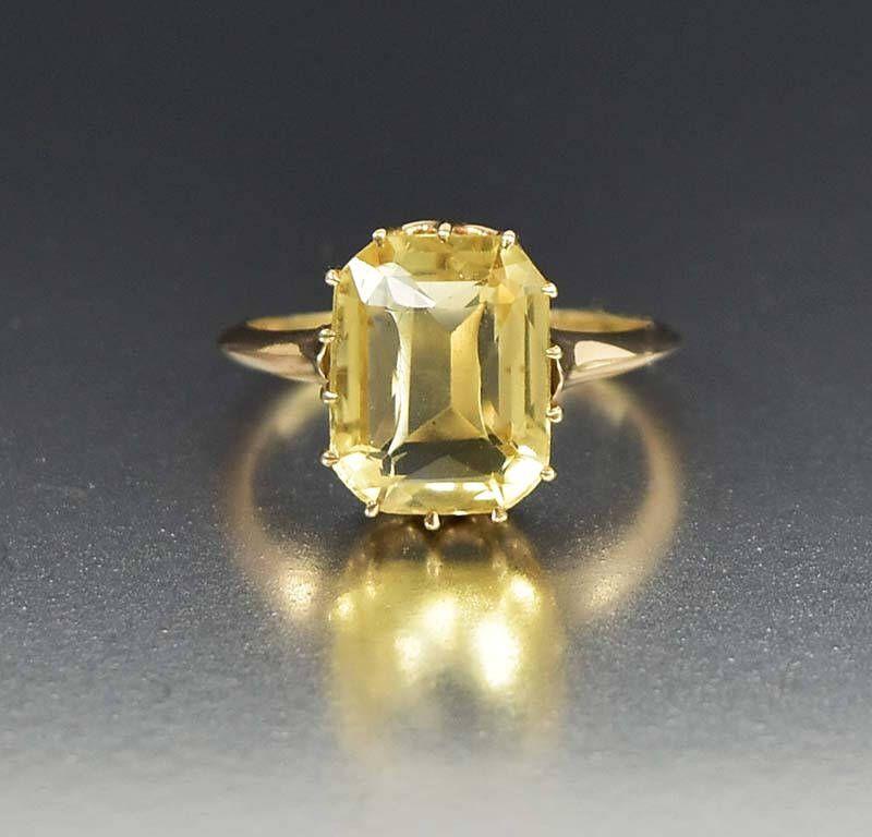 10k Rose Gold Citrine Ring Vintage Estate Ring Rose Gold Ring Yellow Citrine Cocktail Ring Statement R Yellow Citrine Ring Citrine Ring Antique Jewelry