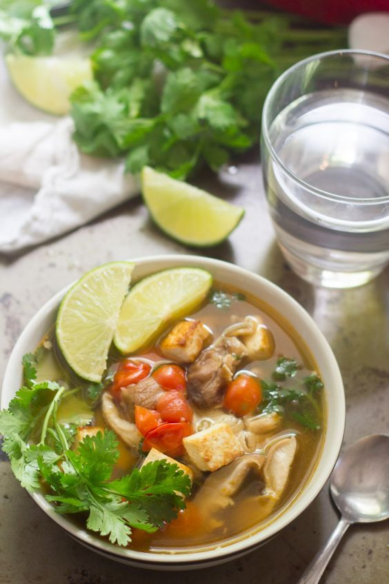 Healthy Soups: 19 Light Soups to Help You Lose Weight   Greatist  Inspired by tangy tom yum broth, this Thai-style soup does away with some traditional ingredients in the interest of using more easily accessible items. Still, with sambal, lemongrass, ginger, and cilantro, there's enough of that familiar fragrance and flavor to rival any restaurant version.