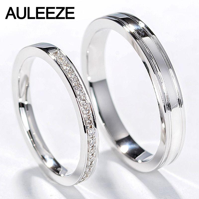 Click To Buy Auleeze Classic Natural Diamond Couple Rings Men Women Wedding Ring 18k White Gold Engagement Anel De Prata Acessorios Femininos Acessorios