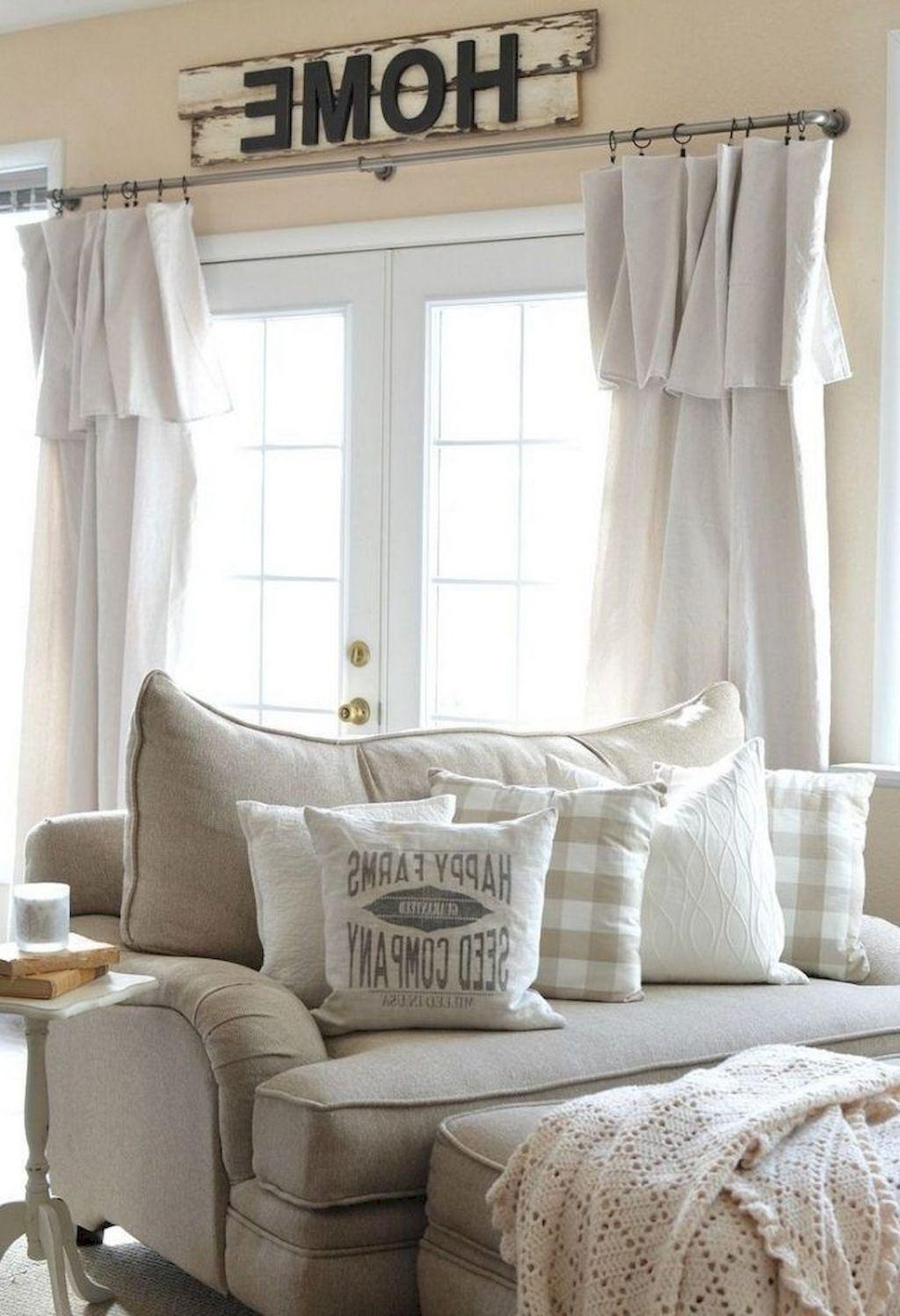90 Modern Farmhouse Living Room Curtains Decor Ideas ... on Farmhouse Living Room Curtain Ideas  id=14643