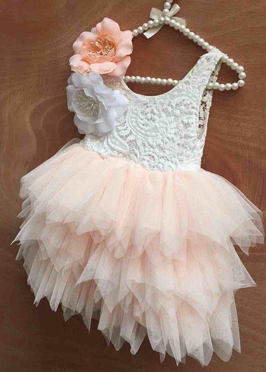 Enfant Bébé Fille Dentelle Fleur Princess Tutu Parti Pageant Robes vêtements