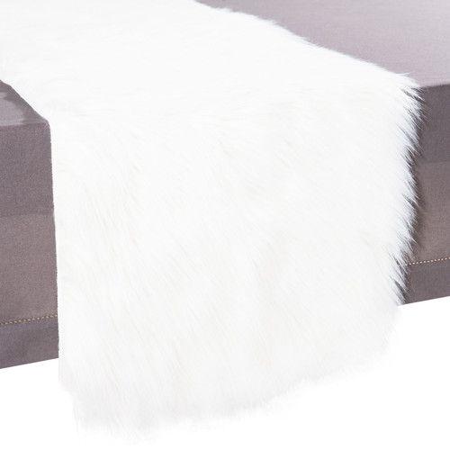chemin de table en fausse fourrure blanc l 160 cm eskimo
