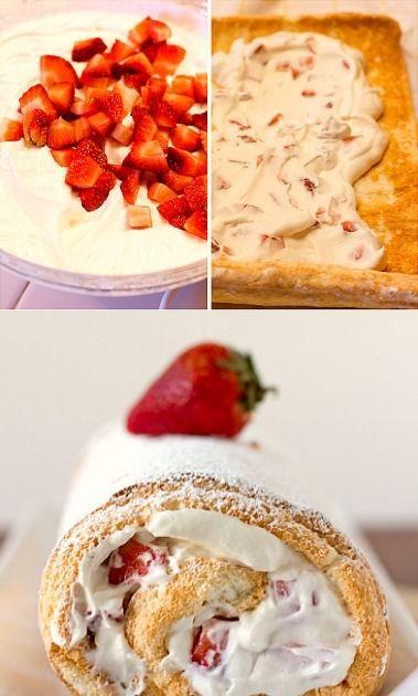 Strawberries and Cream Angel Food Cake Roll