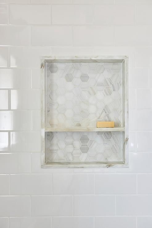 Awesome White Subway Shower Tiles Frame A Niche Fitted With A Marble Shelf And  Marble Hex Tiles