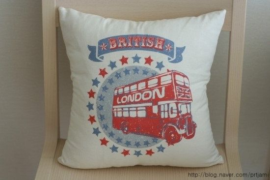 Retro Style London Theme Illustrated Linen Pillow by VintageJamie, $27.00