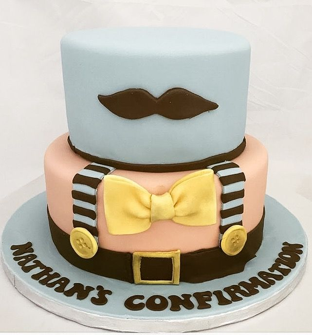 Fun confirmation cake for a young man Featuring braces bow tie
