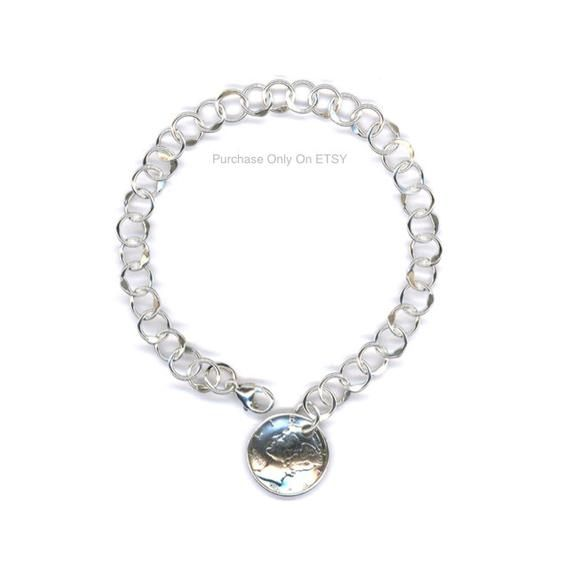 75th Birthday Gift Ideas For Women 1944 Dime Sterling Silver Chain Link Bracelet