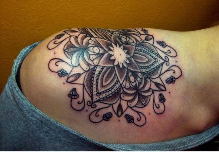 Buddhist Lotus Mandala Tattoo On