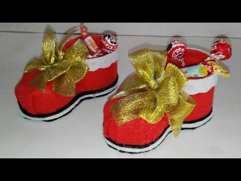 como hacer un dulcero de bota de navidad adornos navideños - imagenes de manualidades