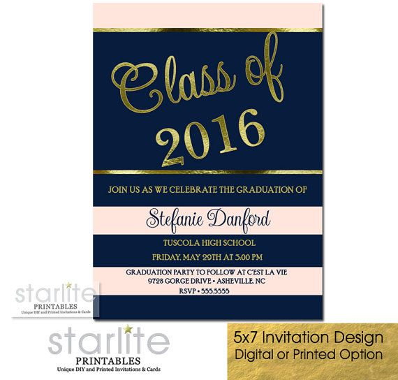 Graduation Party Invitation Graduation Invitation Blush Pink