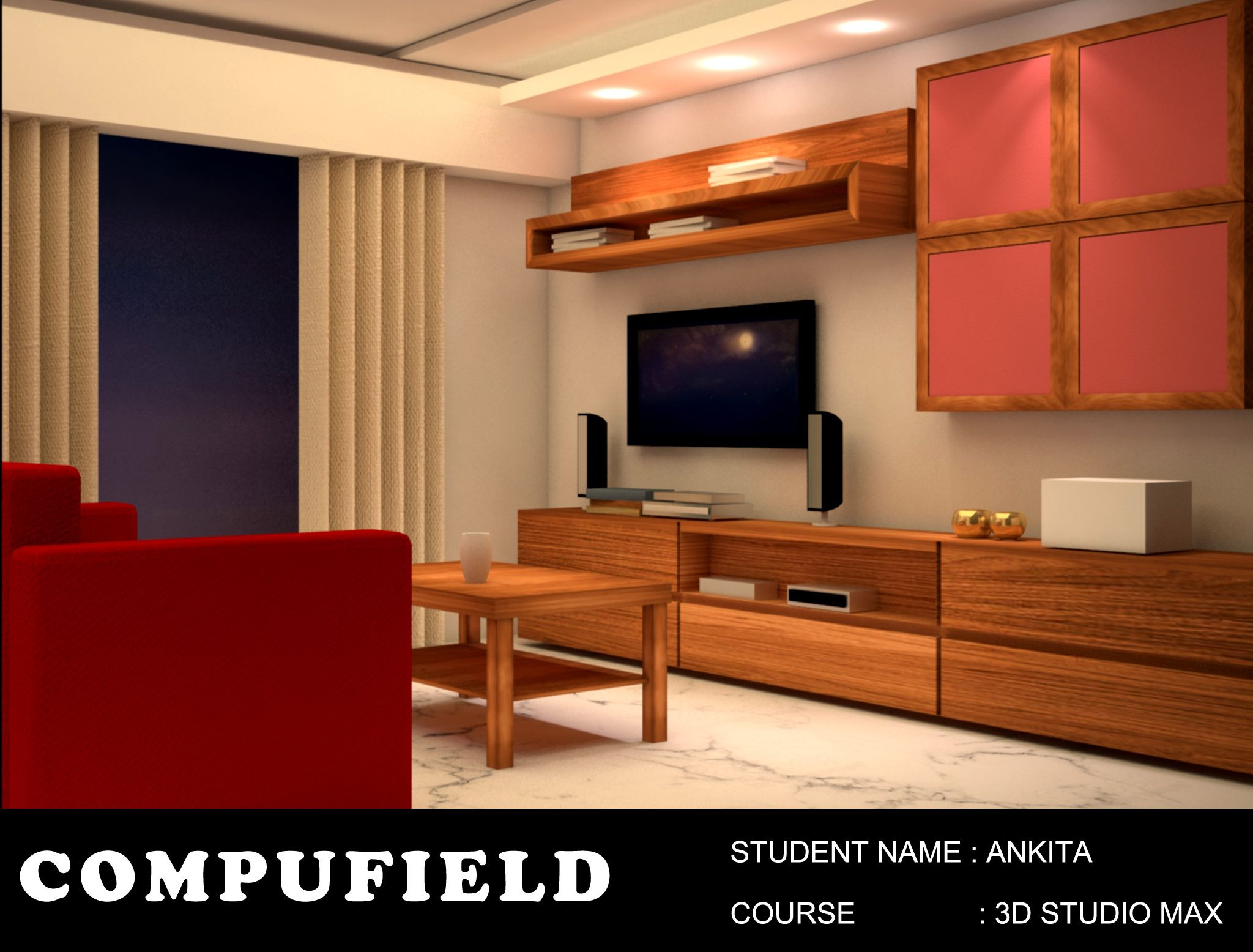Interiordesign Project Done By Our Student Ms Ankika Using 3dstudiomax At Compufield Compu Interior Design Institute Interior Design Interior Design Courses