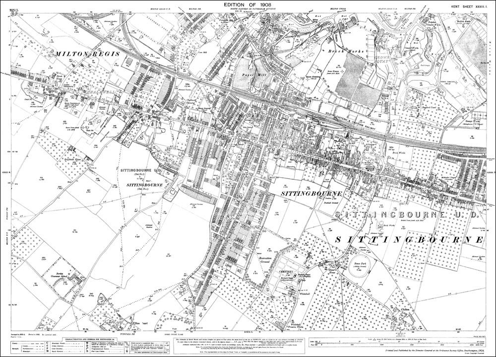 Map Of England Milton.Old Map Of Sittingbourne And Milton Regis In 1908 Historic