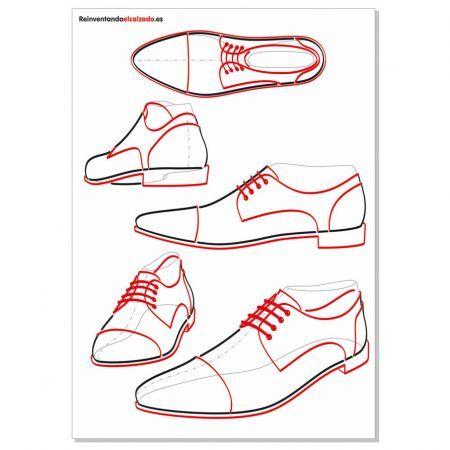 Plantillas zapato de caballero. Plantillas de dibujo calzado