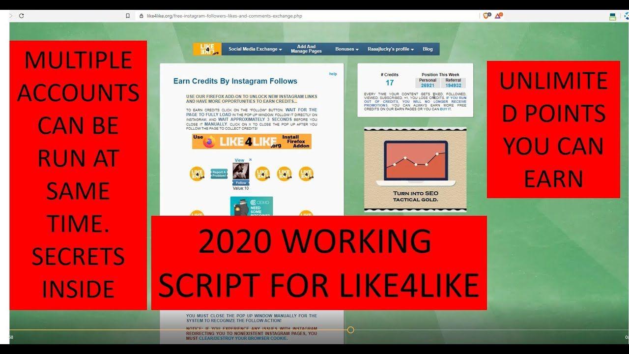 Like4like Imacros Script 2020 Like4like Bot New Script 100 Works Get Instagram Followers Get Instagram Instagram Followers