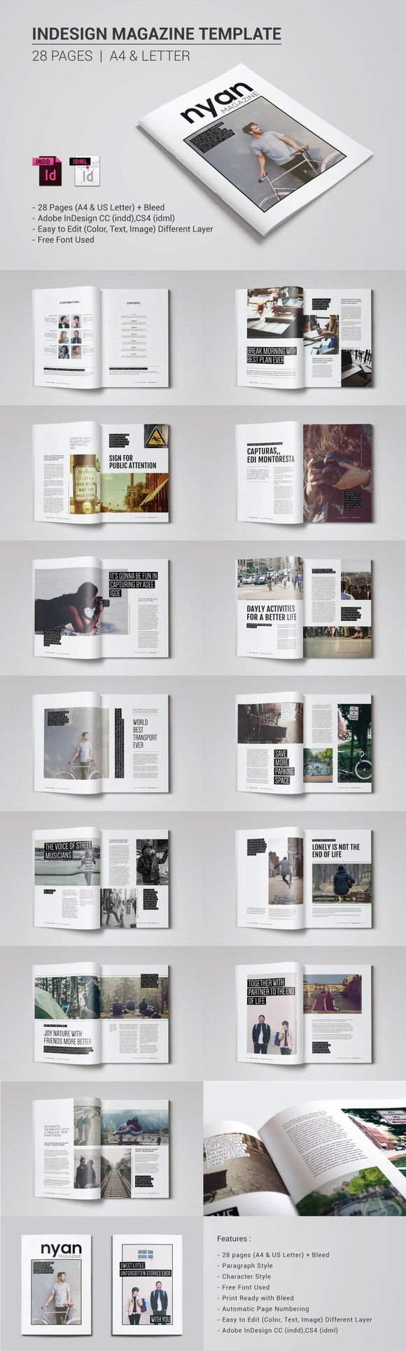Indesign Magazine Template | Diseño editorial, Editorial y Revistas
