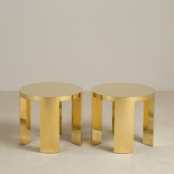 A Pair of Polished Brass Wrapped Side Tables by Talisman Bespoke